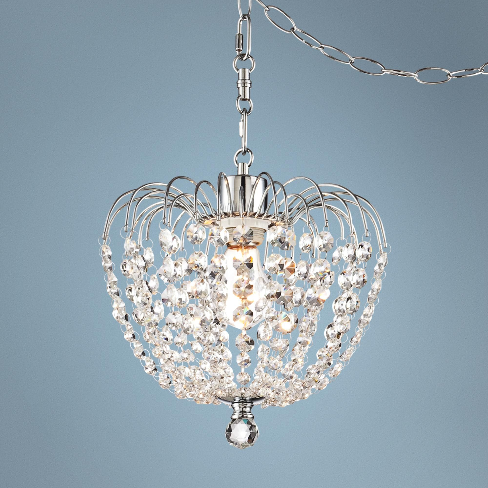 "Bathroom Lights With Plugs possini euro 10 1/4"" wide crystal plug-in swag pendant light"