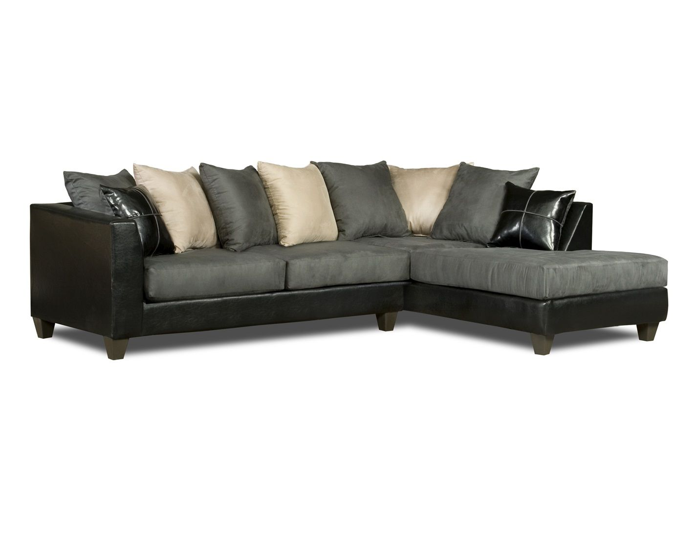 Black Gray White Sectional Sofa Loose Pillow Back 4185 Price