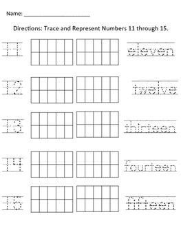 Number Tracing 11-15 | Ten Frames | Numbers kindergarten, Number ...