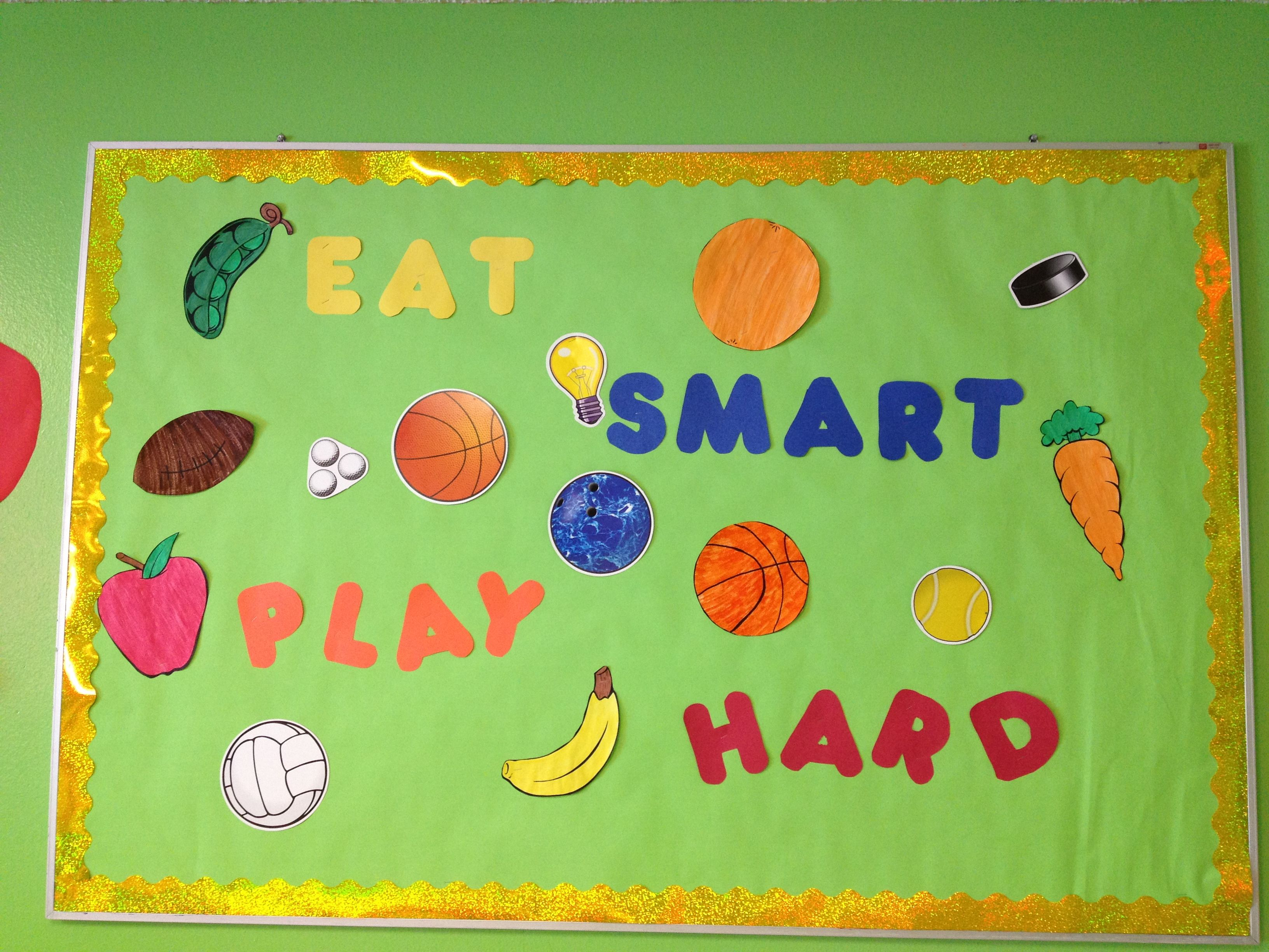 Art craft ideas and bulletin boards for elementary schools vegetable - Eat Smart Play Hard Bulletin Board Cni 187 Painted Fruits And Vegetables