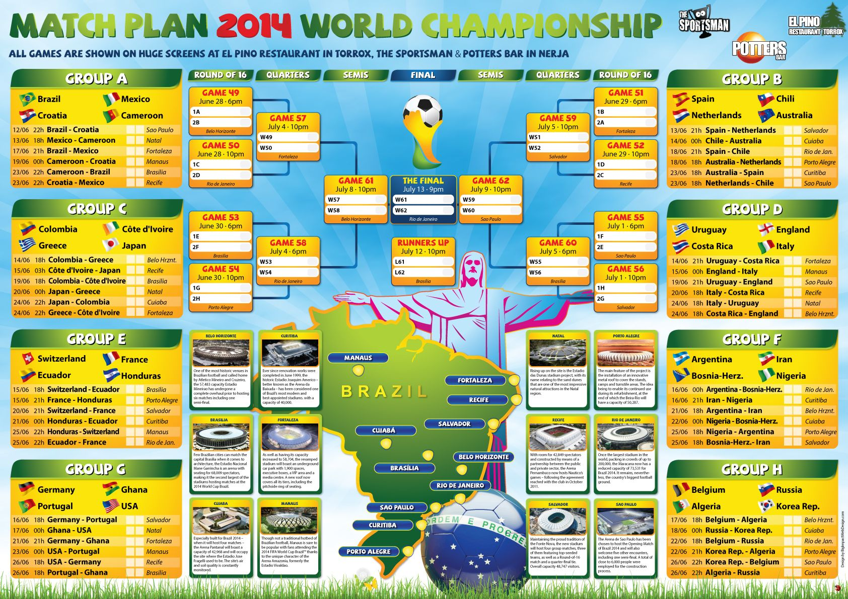 Free Brazil World Cup Wall Chart The Sportsman Sports Bar Nerja World Cup Soccer 2014 Dc