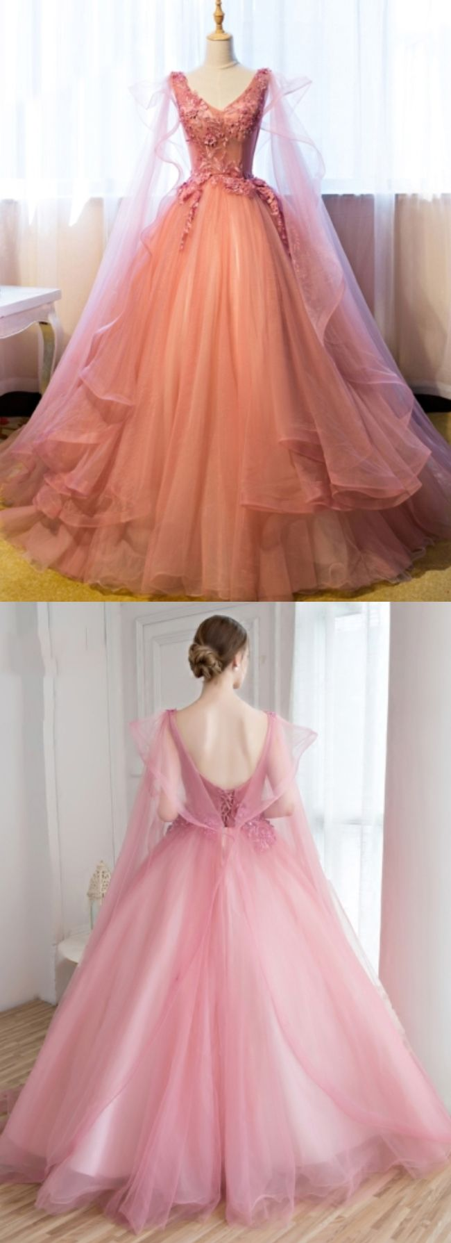 Beautiful Prom Dresses Ball Gown Floor-length V-neck Sexy Prom Dress ...