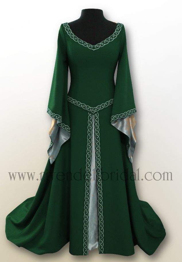 Medieval fairy wedding dresses celtic elvish gothic for Elven inspired wedding dresses