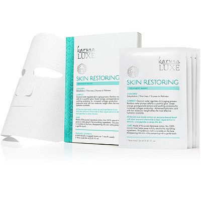 KarunaOnline Only Luxe Skin Restoring Treatment Masks: This mask is ideal for dry, dull, dehydrated skin. The luxe treatment of coconut water, sweet orange, probiotics, and hyaluronic acid all offer maximum hydration to revive the skin in the harsher weather months!