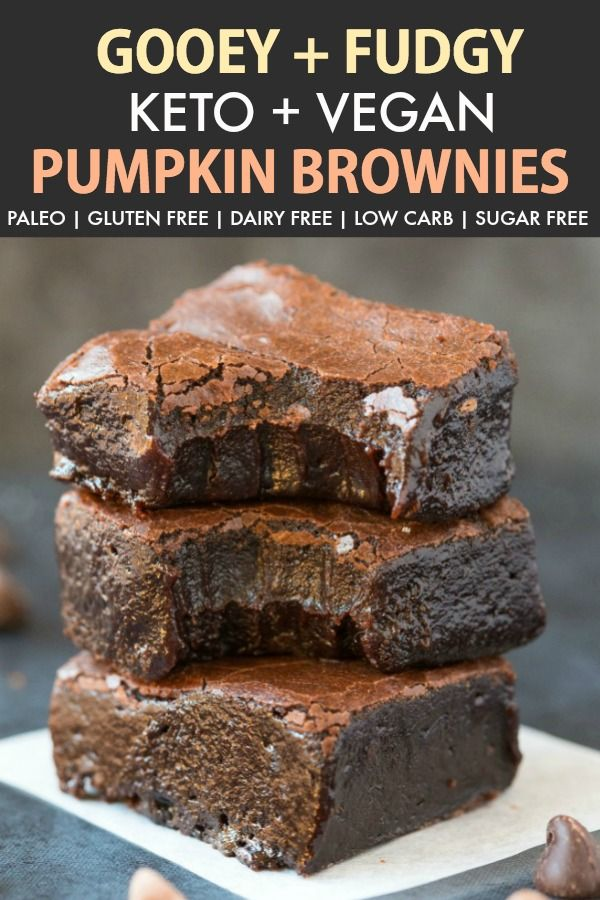 Fudgy Keto Vegan Pumpkin Brownies Paleo Gluten Free Low