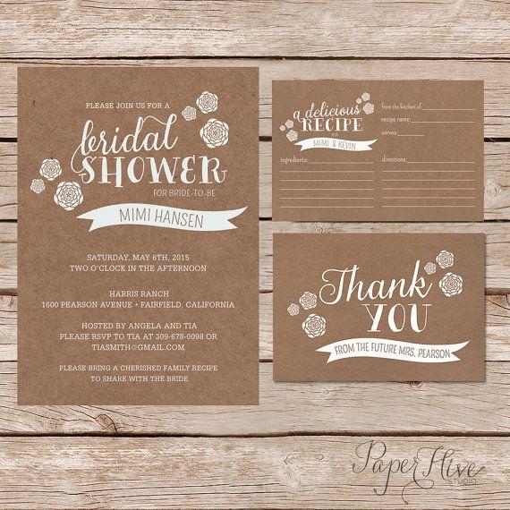 Rustic bridal shower invitation recipe card and thank you card printable bridal shower invite with recipe and thank you card kraft paper bridal shower filmwisefo Choice Image
