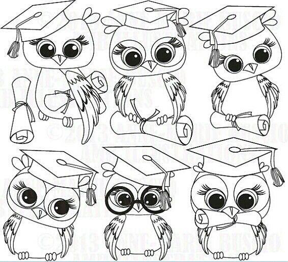 graduate owl images | Graduate owls colouring pages | Owl ...