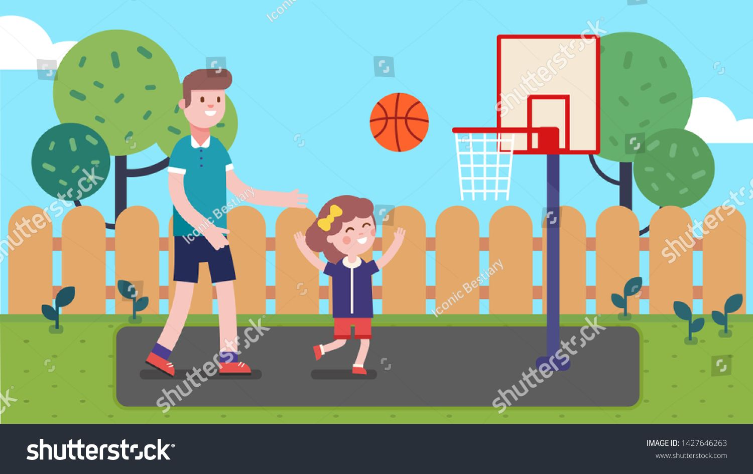 Father And Daughter Kid Playing Basketball In Backyard Happy Family Playing Sport Game Together Having Fun Child And Man Play In 2020 Kids Cartoon Characters Cartoon