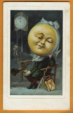 Vintage Moon Face MOON FACE w Clock Horn...