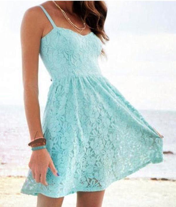 c3611d3b532 blue spaghetti strap lace pleated short Dress - light blue lace dress