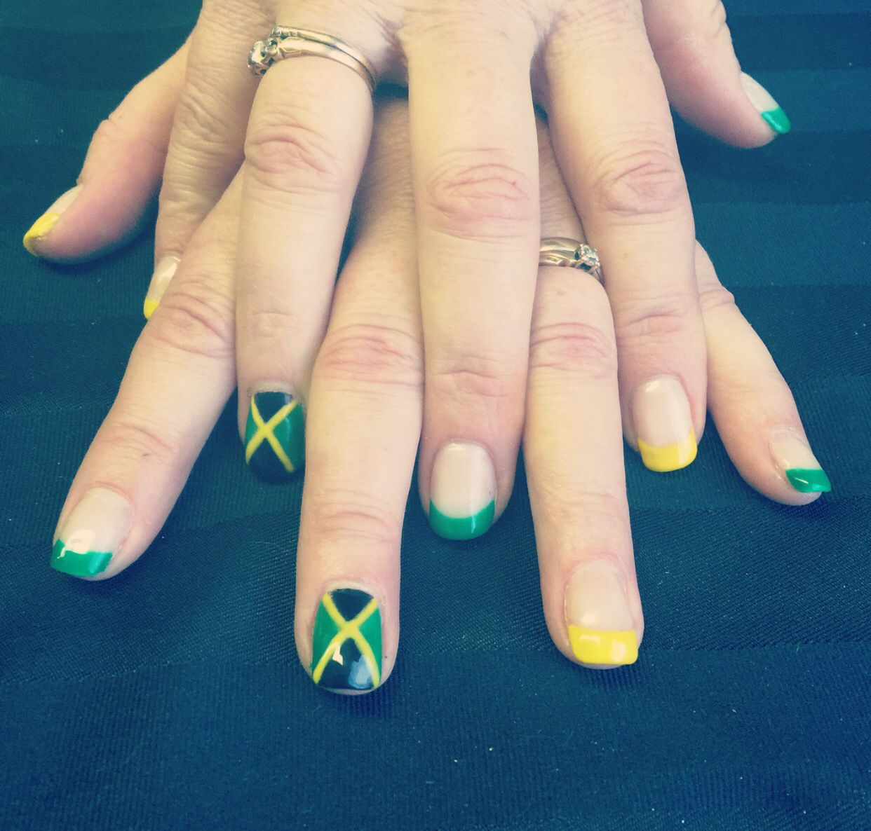 Jamaican nails! #holiday #gelnails #gel #nails #Jamaican #flag ...