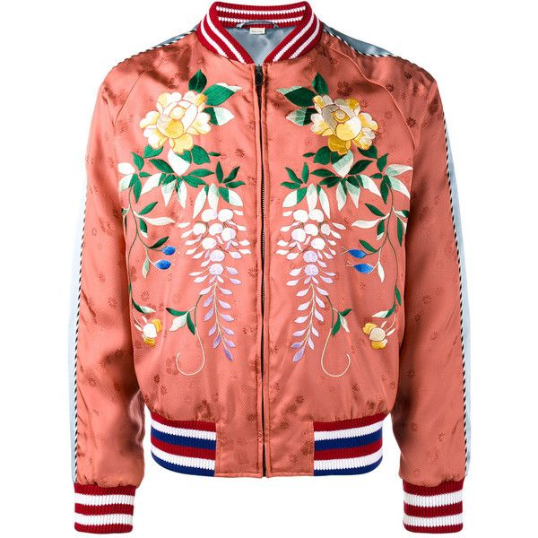 cc5e1376f9f Gucci Gucci Floral-Embroidered Bomber Jacket (37.196.410 IDR) ❤ liked on  Polyvore featuring men s fashion
