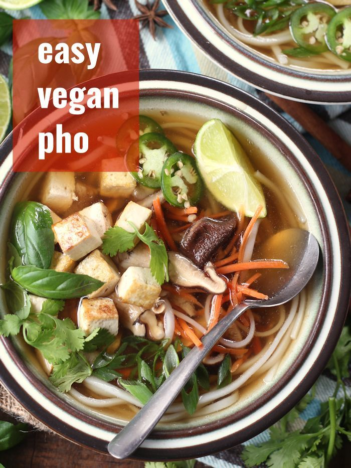 Toasty spices and veggies are simmered in vegetable broth and ladled over silky rice noodles and crispy pan-fried tofu before being topped with hoisin sauce and fresh herbs to make this restaurant-worthy vegan pho. The best part? It comes together super quick and easy in less than an hour! The perfect soup for a cozy plant-based Vietnamese-inspired dinner!