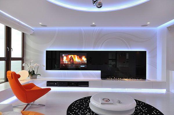 Wohnzimmer Blumen ~ Orange sofa buntes innendesign modern eleganz weiß schwarz blumen