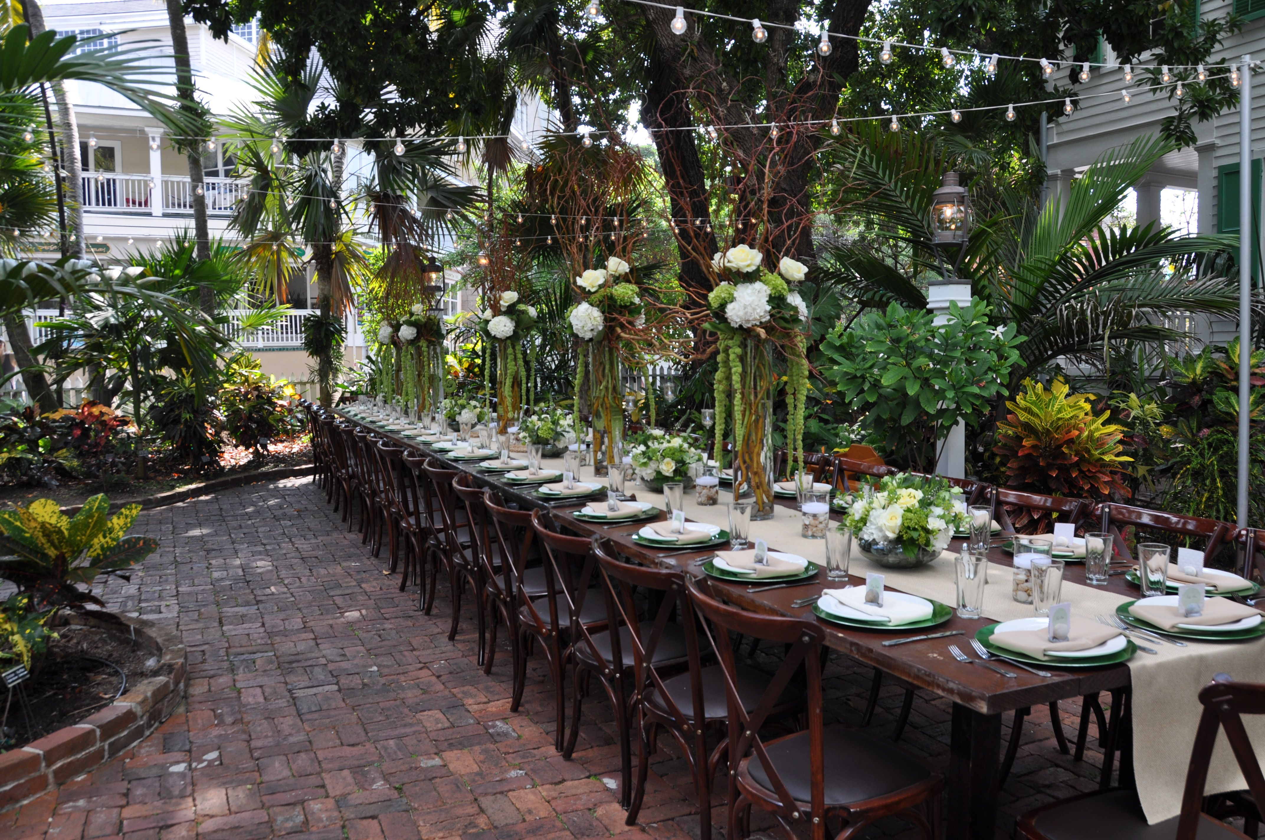 Garden Wedding Reception With Family Style Table Audubon House Key West