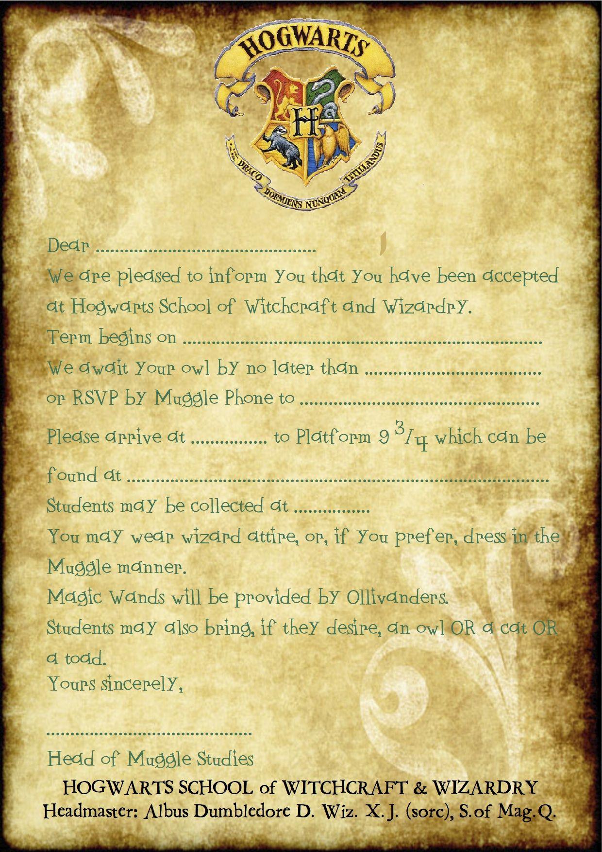 harry potter birthday invitations diy