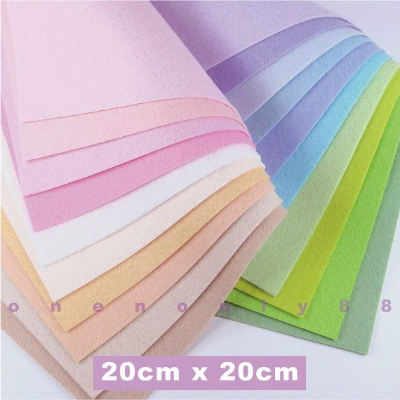 20 Pastels Felt Collection 20cm X 20cm Per Sheet Baby Colors Felt Sheets Felt Fabric