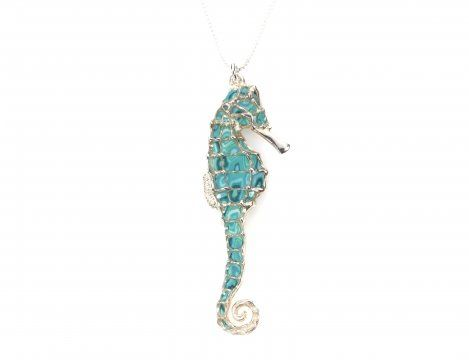 Turquoise Small Seahorse pendant by Adina Plastelina.