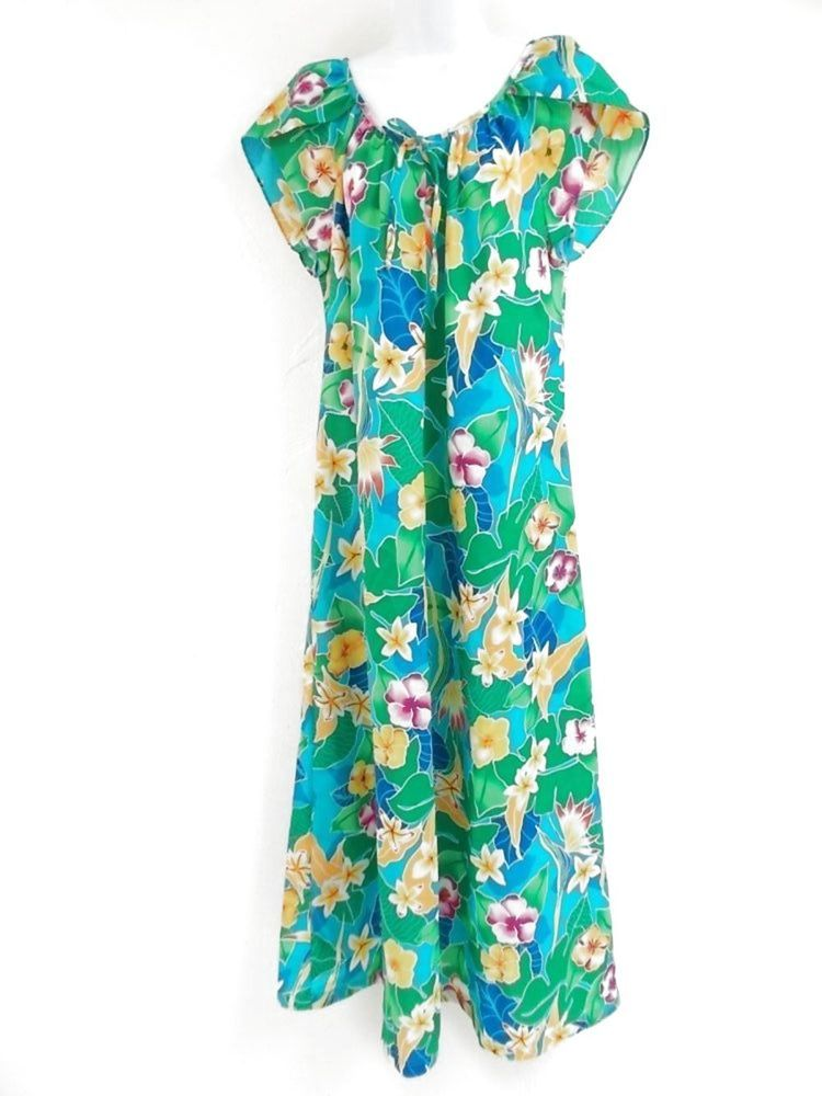 91275c4cc572 Hawaiian Mumu Dress Vintage 80s Medium Hilo Hatties Luau Cruise Tropical