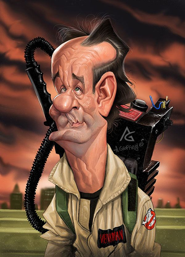 Ghost Buster Bill Murray is painted here in one of the more impressive caricatures out of this group.