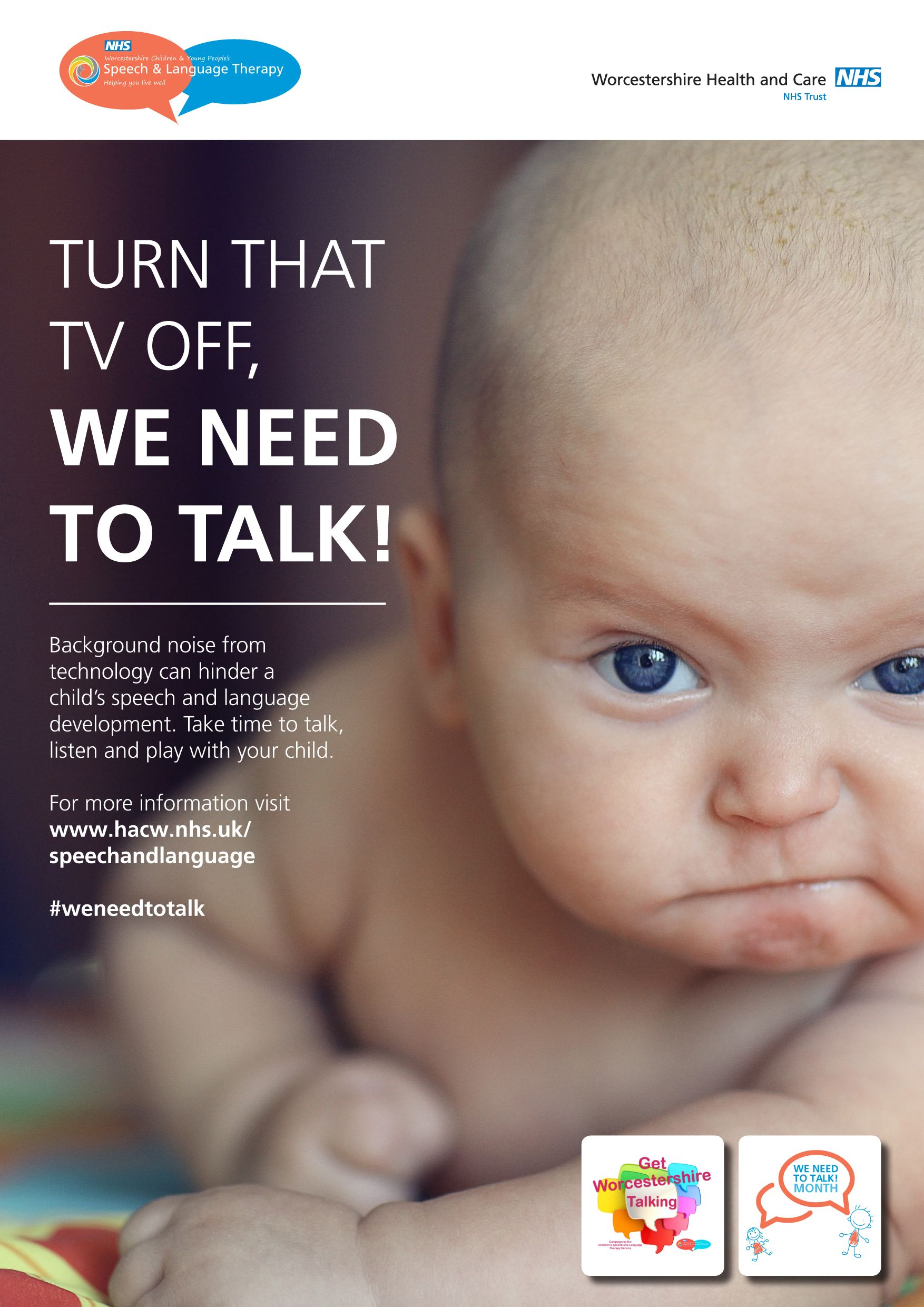 Language development awareness poster from the We Need to Talk