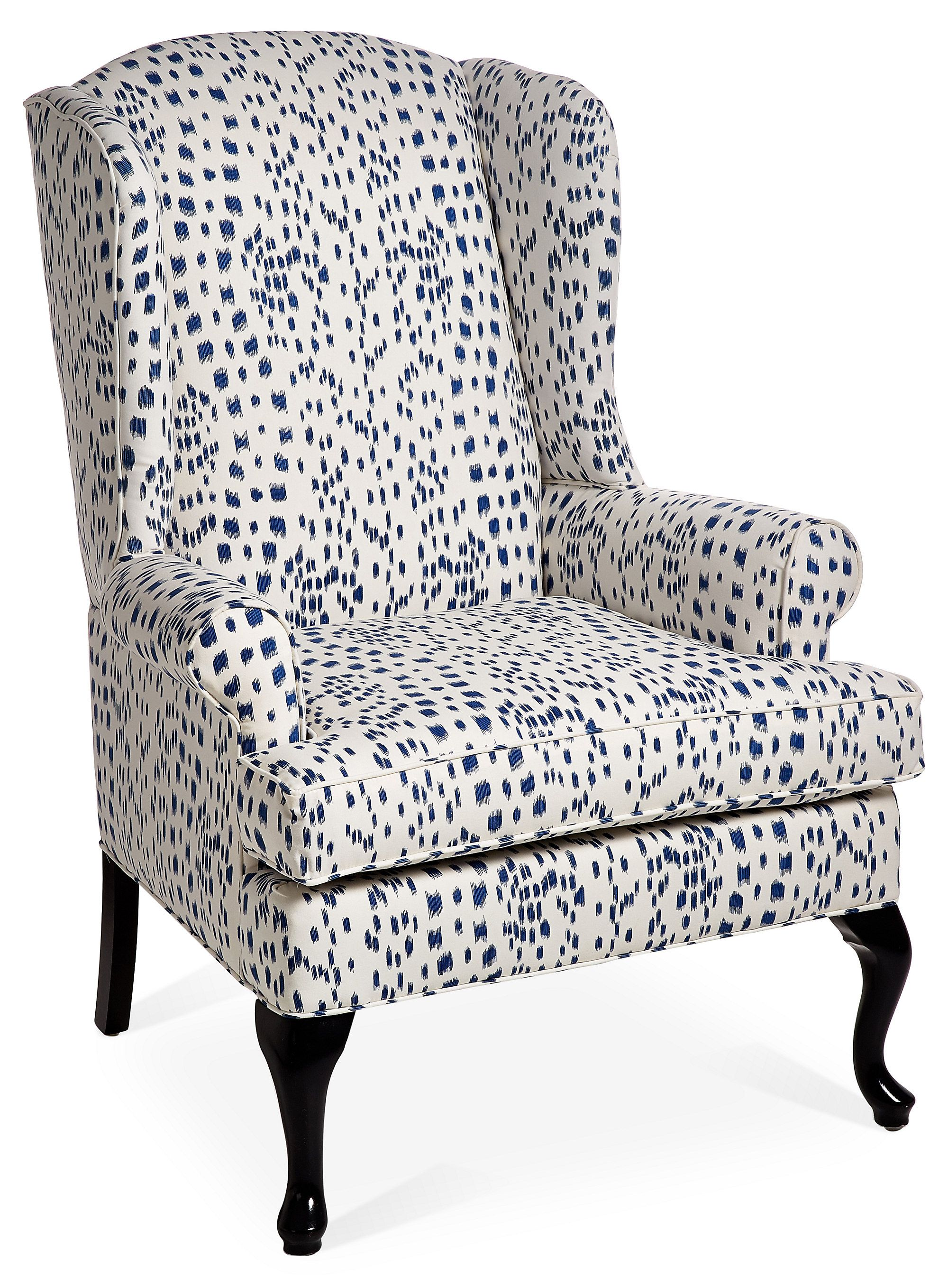 Melanie Wingback Chair Navy Dot Wingback Chair Oversized Chair Living Room Leather Wingback Chair