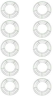Amazon Com Royalty Essentials 10 Inch Metal Wire Wreath Frame Form Hanger Green 10 Inch Pack Of 10 Home Kitchen Wire Wreath Frame Wire Wreath Metal Wire