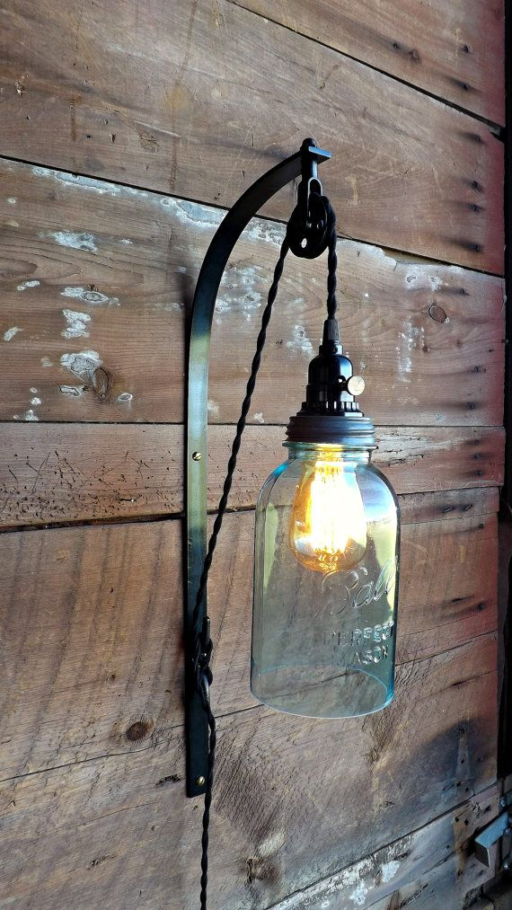 Industrial Wall Sconce Pulley Lamp Vintage Enamel Barn