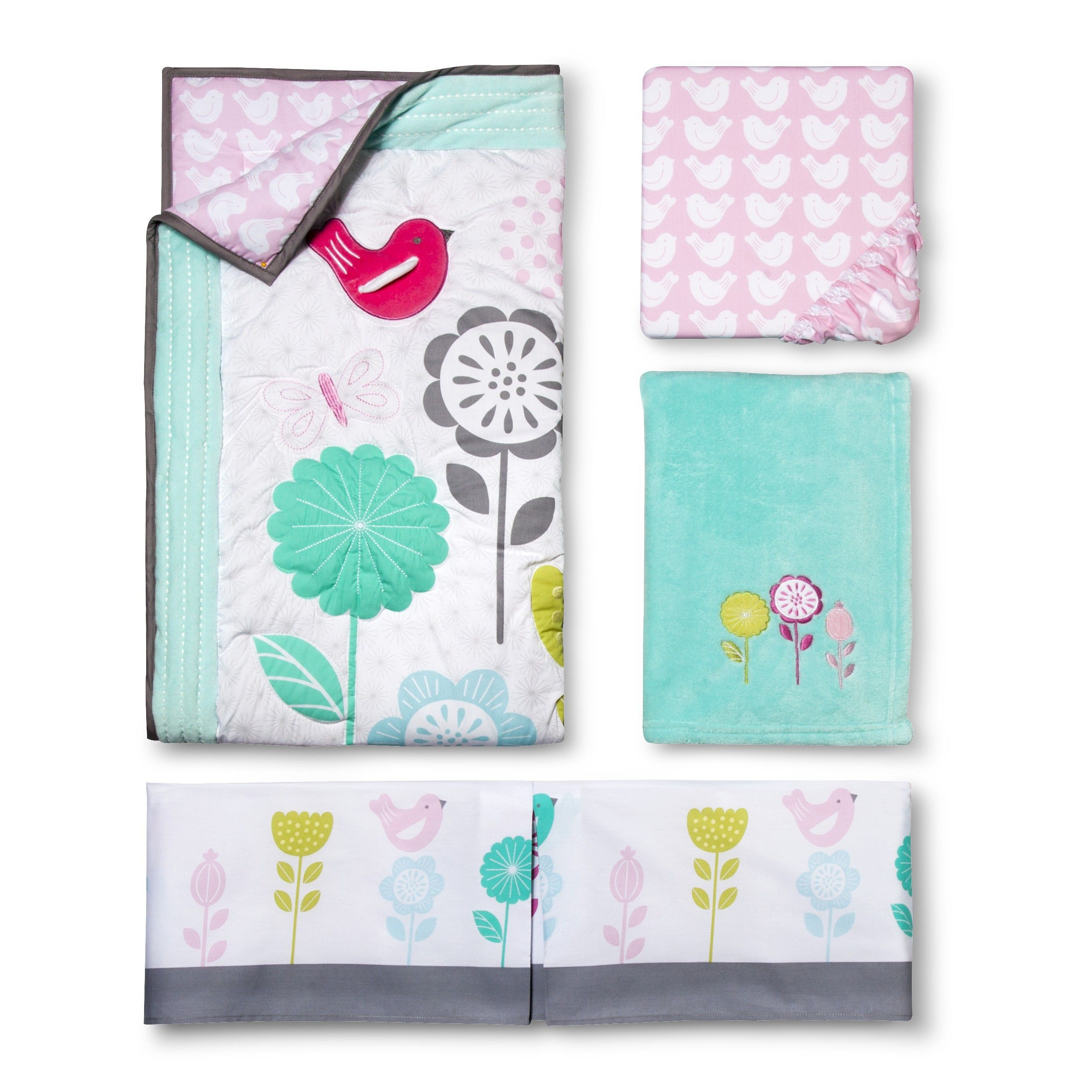 Circo Burst of Spring 4pc Crib Bedding Set Tar