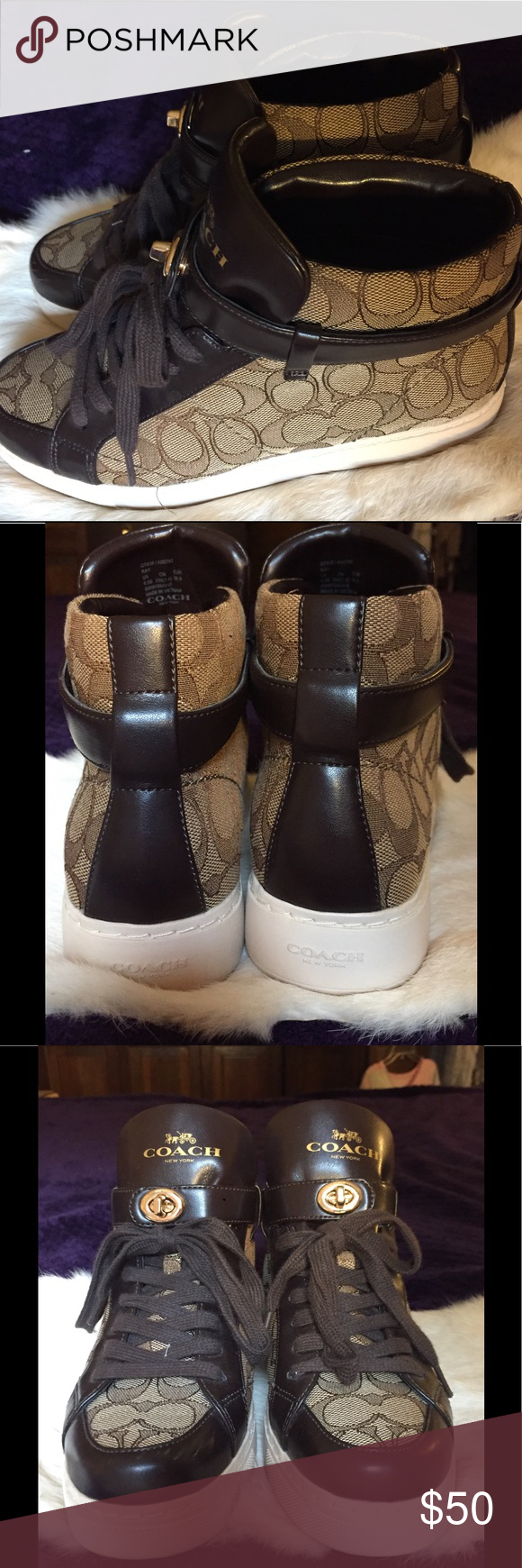 coach sneakers worn once-- perfect condition, no wear or tear, no spots or stains, quality material Coach Shoes