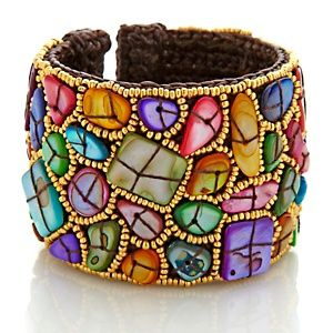 Sally C Treasures Multicolor Abstract Mosaic Shell Cuff Bracelet #beadwork