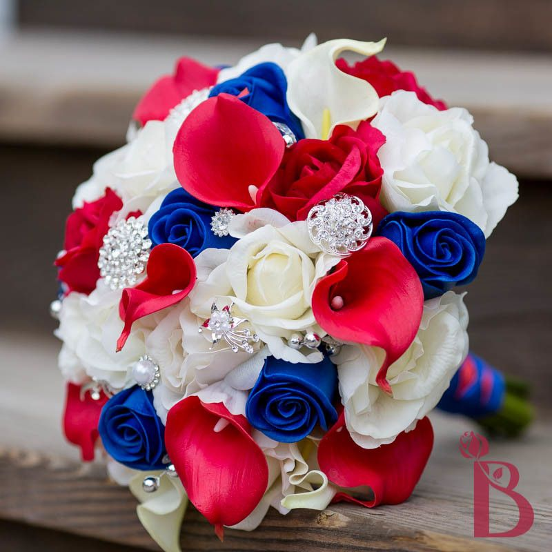 Red white blue wedding bouquet real touch roses calla for White and blue flower bouquet