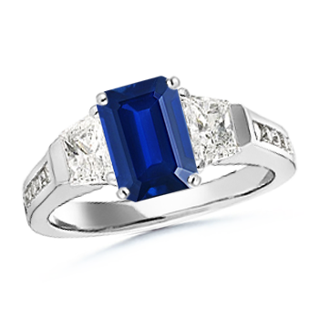 Angara Emerald-Cut Tanzanite and Trapezoid Diamond Three Stone Ring NTukmTNG8t