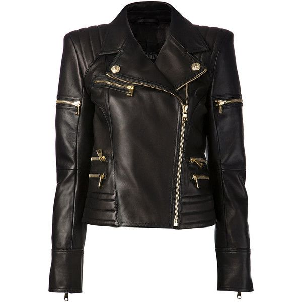 Balmain Women Black Leather Biker Jacket (21.385 NOK) ❤ liked on Polyvore featuring outerwear, jackets, leather jacket, tops, coats, black, padded motorcycle jacket, stitch jacket, genuine leather jackets and leather motorcycle jacket