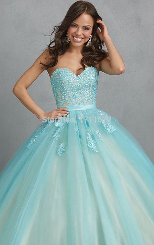 Hot Long Vestidos De Quinceaneras 2015 15 Anos Elegant Gown Light ...