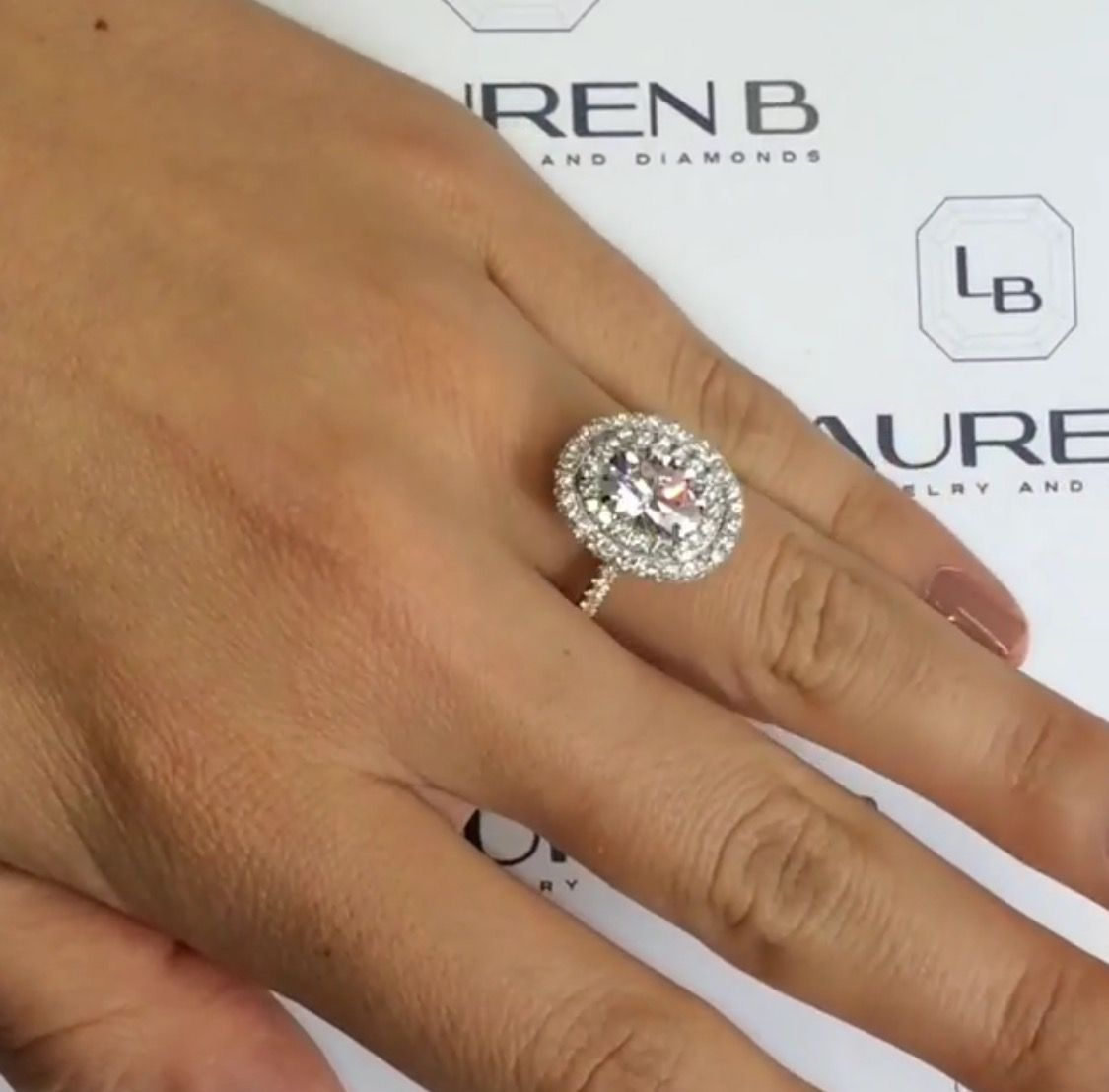 #obsesseddddddd Lauren B Double Halo Twotone Engagement Ring #moissanite  With Rose Gold