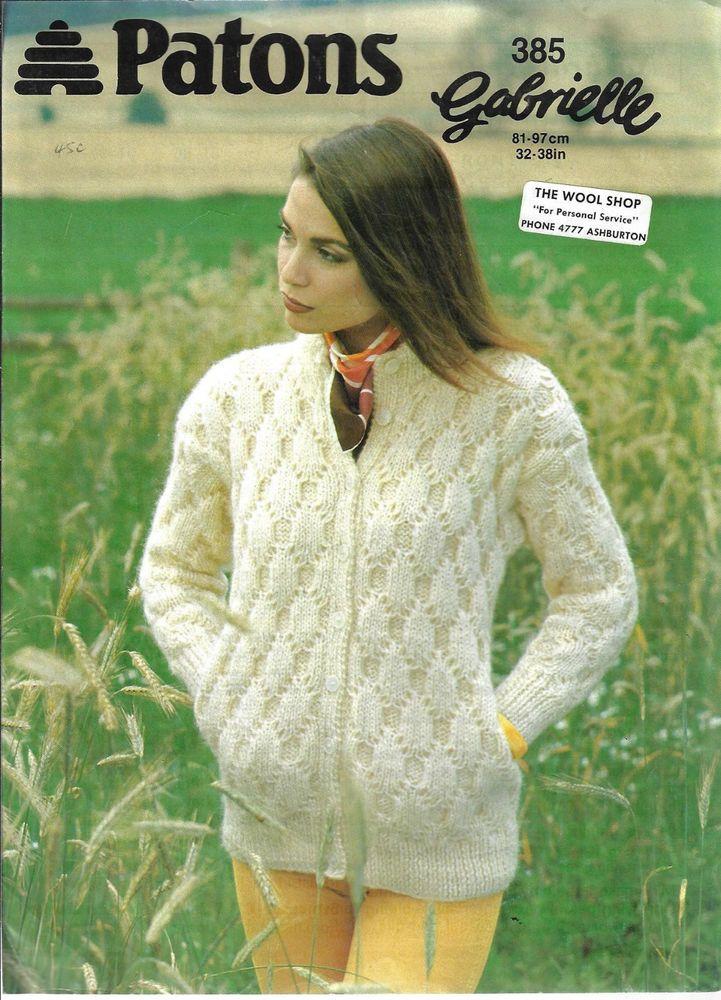 Womens Textured Cardigan Patons 385 Knitting Pattern Chunky Yarn