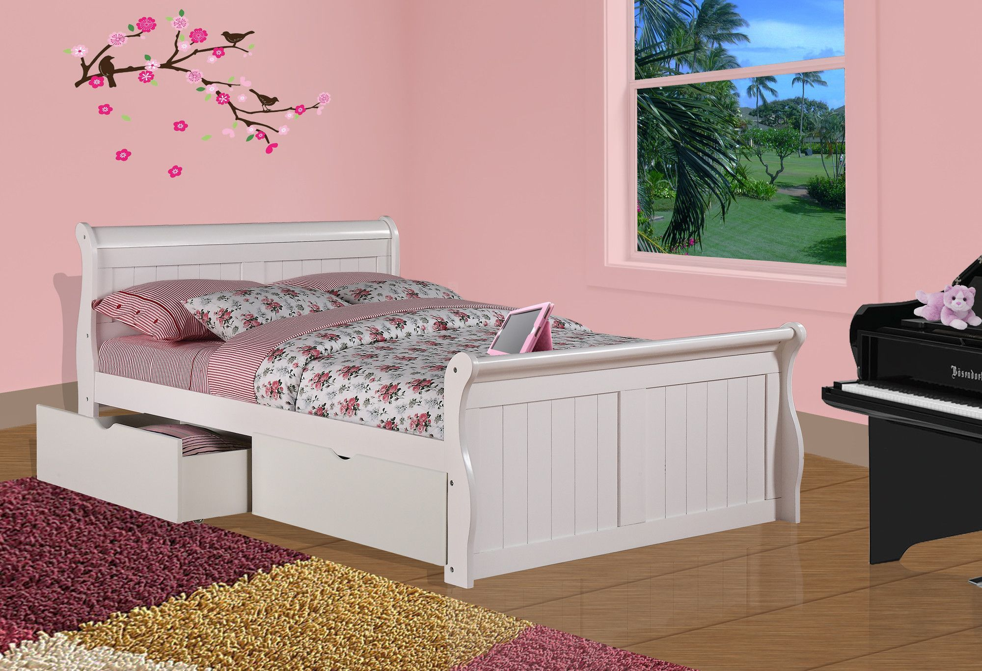 Sleigh Bed with Dual Underbed Drawers White sleigh bed