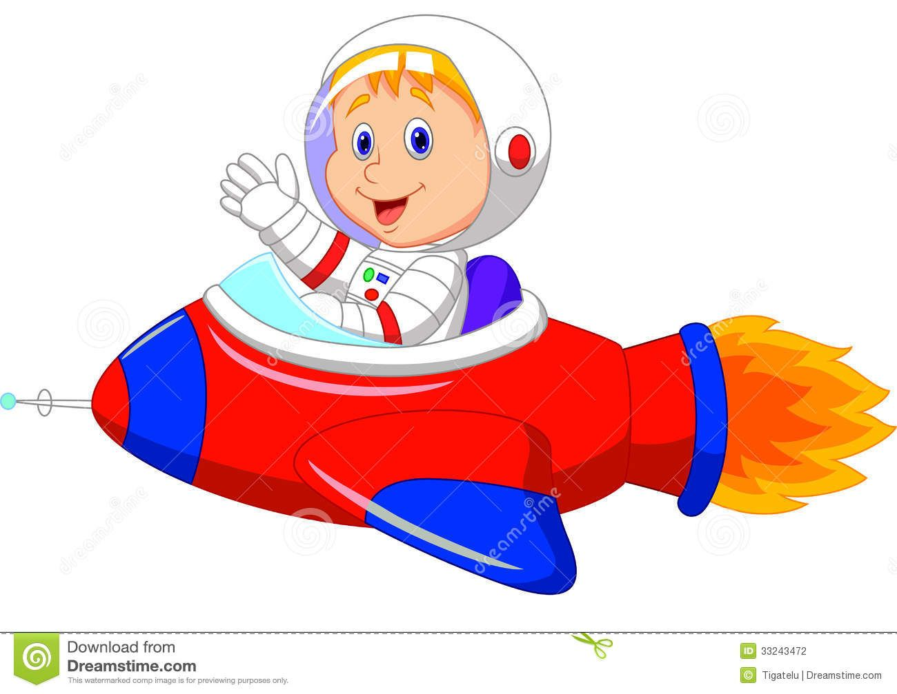 Cartoon boy astronaut in the spaceship Stock Photography ...
