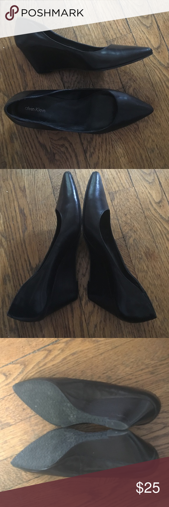 Calvin Klein Baret Wedge heel slip on us 8 Worn to one interview (I got the job, so the shoes must be lucky). Very good condition. Leather upper. Calvin Klein Shoes Wedges