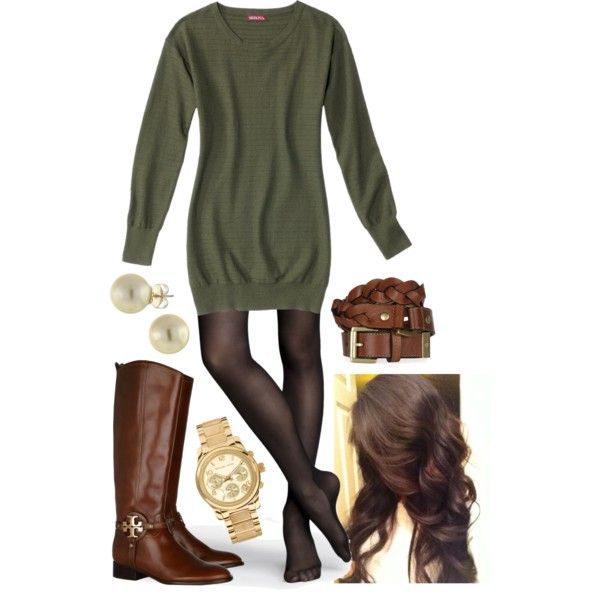 Olive Green Tunic and Tights by l-woke-up-near-the-sea on Polyvore ...