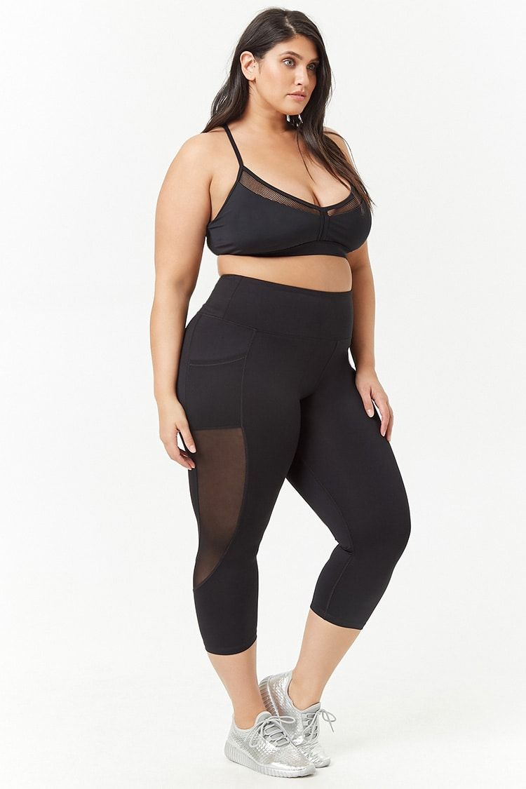 b09efc3e19d04 Product Name:Plus Size Mesh-Panel Capri Leggings, Category:plus_size-main,  Price:22.9 - Sale! Up to 75% OFF! Shop at Stylizio for women's and men's  designer ...