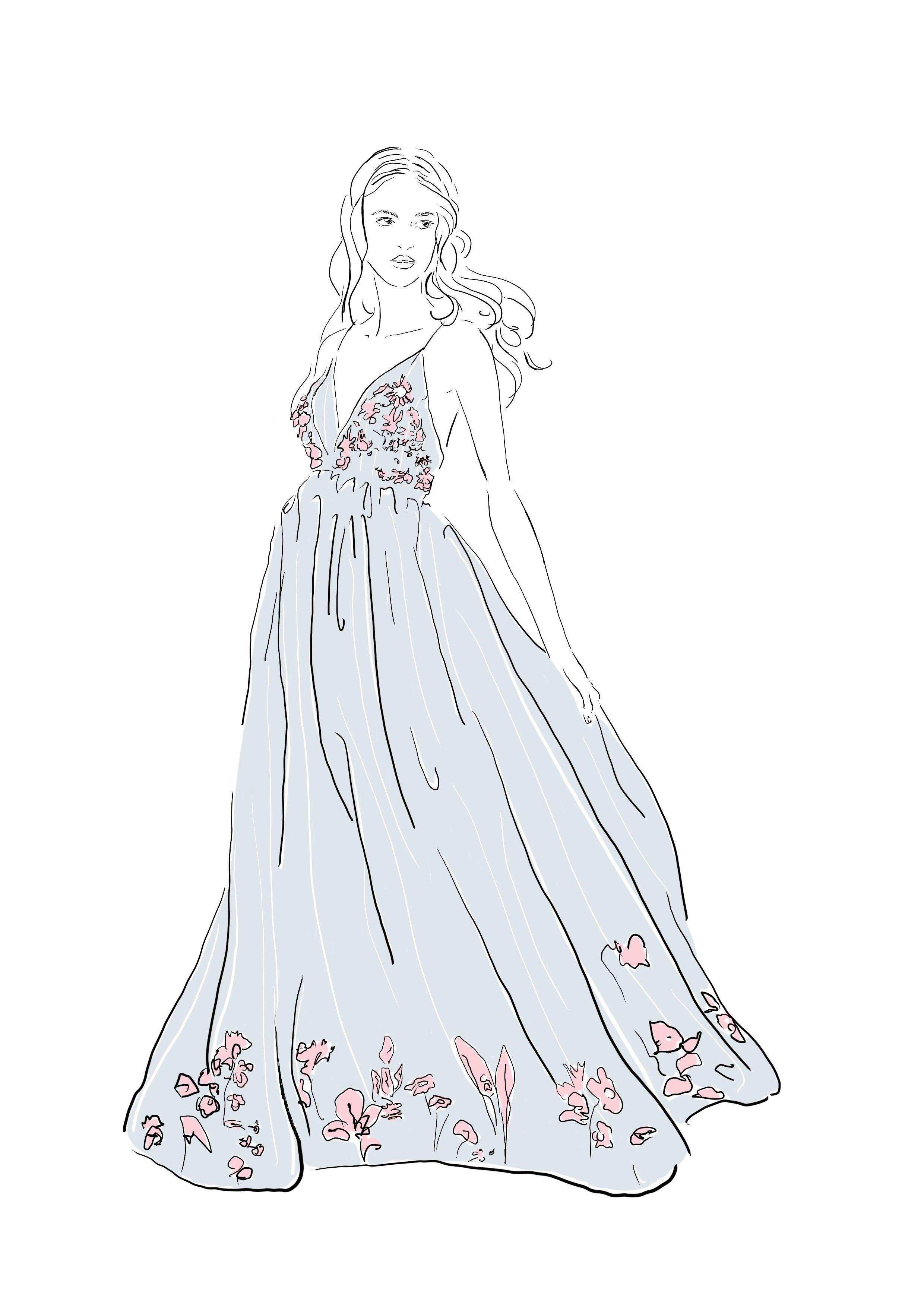 Elfenhafte Modezeichnung als Postkarten die du weiter basteln kannst ...