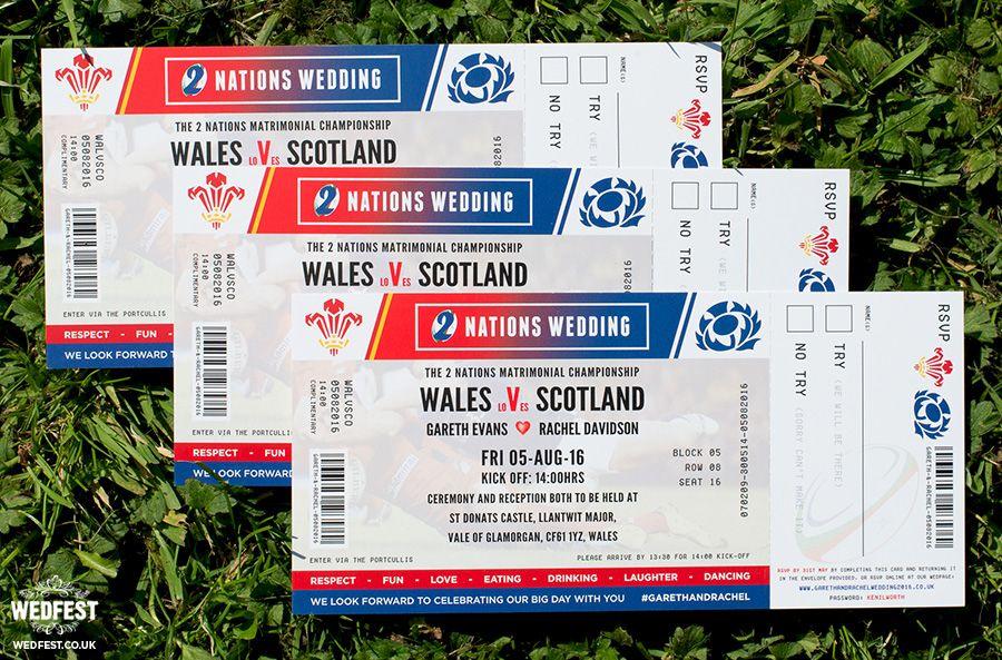 wales v scotland rugby ticket wedding invites http://www.wedfest ...