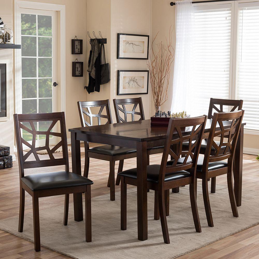 baxton studio mozaika dining table  chair 7piece set