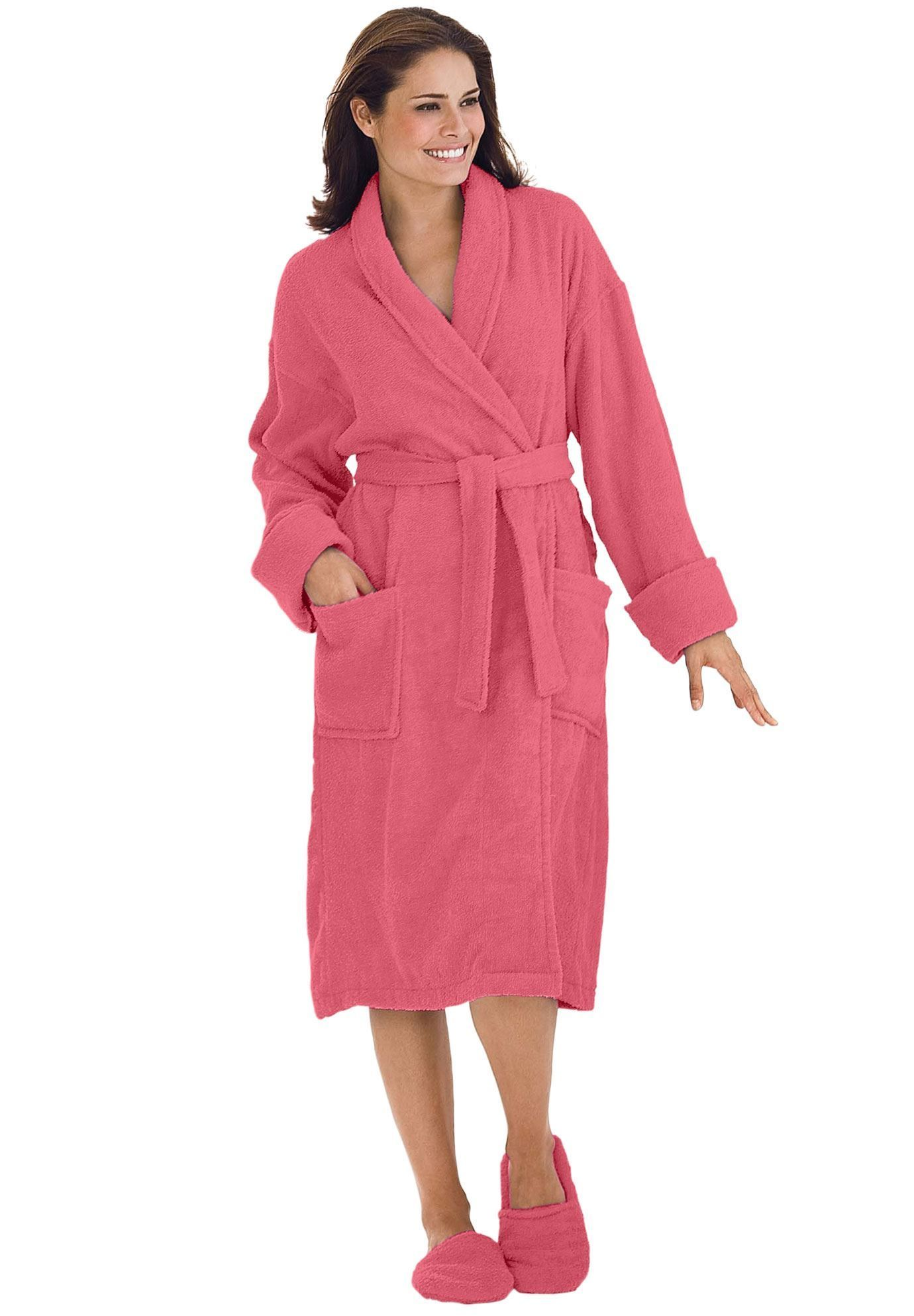 7f1f0d9b28 Personalized Short Terry Robe with FREE Slippers - Women s Plus Size  Clothing