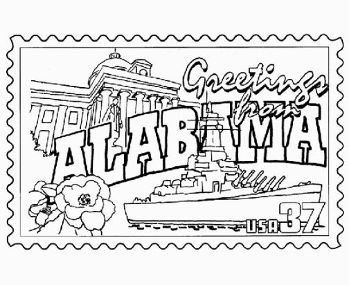 50 States Coloring Pages Coloring Pages State Symbols Alabama State