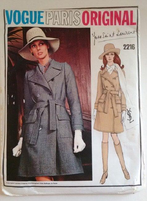 UNCUT 60\'s Vogue Paris Original 2216 Yves Saint Laurent YSL Mac Coat ...