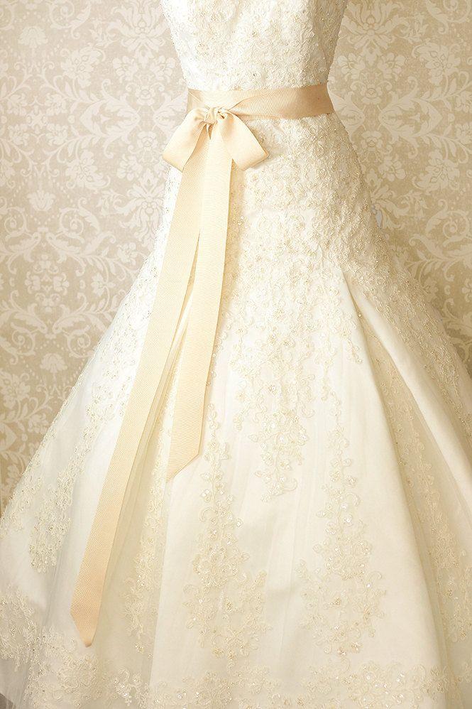 Bridal Sash - Romantic Luxe Grosgrain Ribbon Sash - Wedding Sashes - French Vanilla Cream -  Bridal Belt. $38.00, via Etsy.