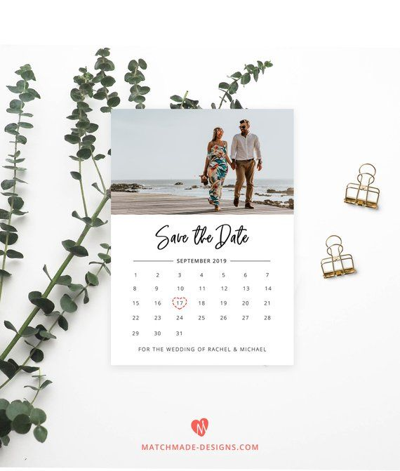 Photo Save the Date Template Calendar Save Our Date Printable